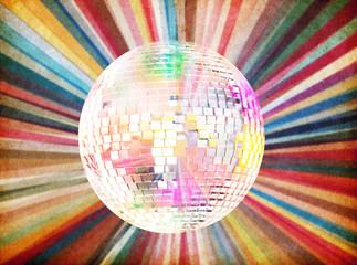 bright color disco ball background