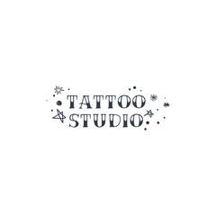 Vintage tattoo studio logo, emblem. Tattoo lettering style font, logo template
