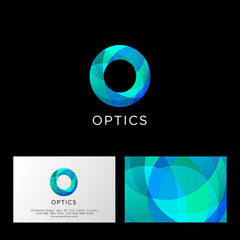 Optics logo. O letter. Blue and azure transparent abstract symbol. Web, user interface icon. Identity. Business card.