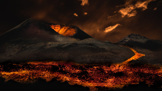 Lava flowing from volcano eruption. Image montage.