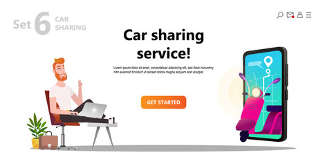 Online carsharing. Motocycle on screen smartphone. Man and scooter rent. Mobile city transportation concept,  Online car sharing with cartoon character and screen smartphone, can use for web design