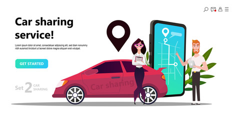 Online carsharing. Mobile city transportation concept,  Online car sharing with cartoon character and screen smartphone, can use for web design, landing page, ui, template,  mobile app, flyer, poster