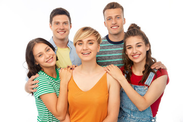 friendship and people concept - group of happy smiling friends over white background