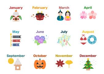 カレンダー 季節 行事イラスト アイコン 白バック