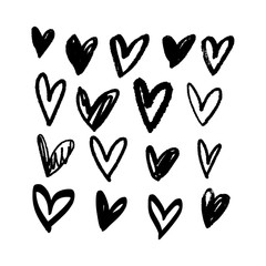 Collection of black brush hearts, vector illustrations. Hand drawn pen and ink painting.