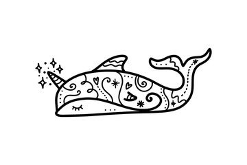 Vector cute patterned unicorn dolphin art. Poster and banner element, children's book illustration, postcard.