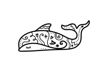 Vector cute patterned dolphin art. Poster and banner element, children's book illustration, postcard.
