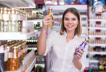 girl  selecting perfume