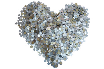 Thai Baht lots coin Arranged in heart shape on with white background texture, Investment and saving concept, Money stack for business planning investment, A lot of money.