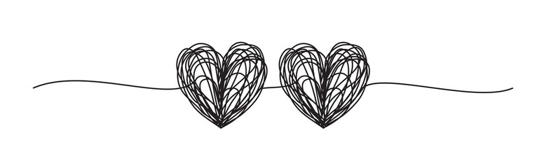Banner with two tangled scribble hearts