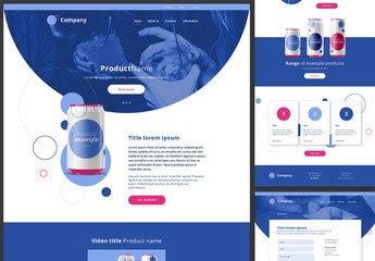 Website Design Layout with Blue and Pink Accents