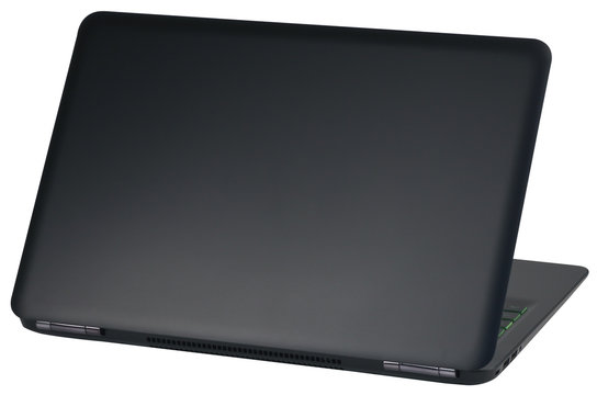 The back side of the laptop, isolated on white background.