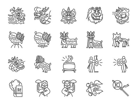 Chinese lion dance line icon set. Included the icons as performances, musician, lion dance, dragon dance, celebration and more.