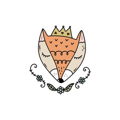 Vector cute princess fox face art. Poster and banner element, children's book illustration and other.