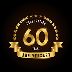60 years anniversary celebration logotype. Golden anniversary emblem with ribbon. Design for booklet, leaflet, magazine, brochure, poster, web, invitation or greeting card.