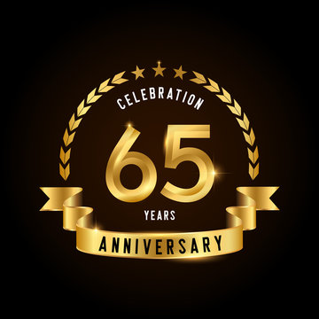 65 years anniversary celebration logotype. Golden anniversary emblem with ribbon. Design for booklet, leaflet, magazine, brochure, poster, web, invitation or greeting card.