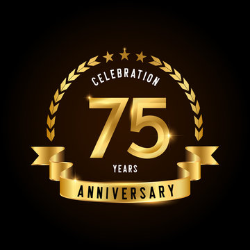 75 years anniversary celebration logotype. Golden anniversary emblem with ribbon. Design for booklet, leaflet, magazine, brochure, poster, web, invitation or greeting card.