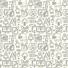 Vector graphic design seamless pattern with linear icons. Line style designer background with place for text.  Graphic design education and learning.