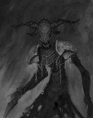 Dark horned creature lurking in an abstract background, representing fear - digital fantasy painting