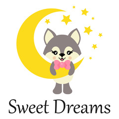 cartoon cute wolf with tie on the moon with text