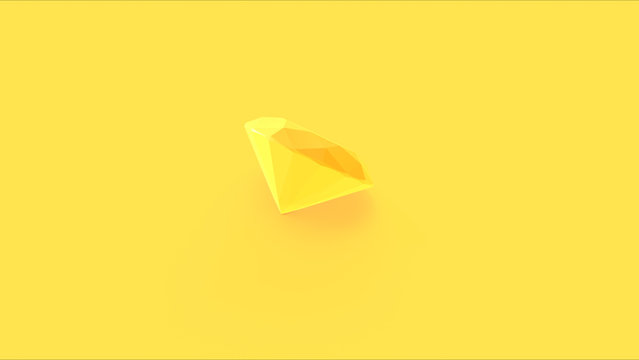 Large Yellow Diamond 3d illustration 3d render