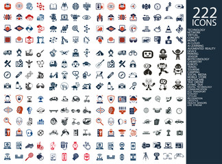 Digital vector 222 simple icons set