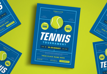 Blue Tennis Tournament Event Flyer
