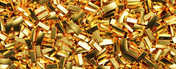 Gold bars in bank vault. Storage, banner size