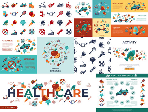 Digital vector healthy activity lifestyle icons