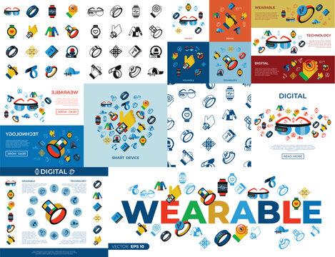Digital vector wearable technology icons set