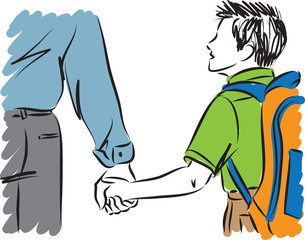 father and son with backpack vector illustration