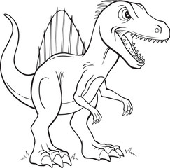Deurstickers Cartoon draw Spinosaurus Dinosaur Coloring Page Vector Illustration Art