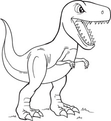 Deurstickers Cartoon draw Tyrannosaurus Rex Dinosaur Coloring Page Vector Illustration Art