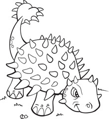 Spoed Foto op Canvas Cartoon draw Ankylosaurus Dinosaur Coloring Page Vector Illustration Art