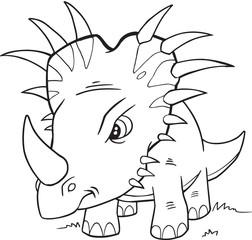 Styracosaurus Dinosaur Coloring Page Vector Illustration Art
