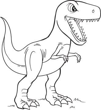 Tyrannosaurus Rex Dinosaur Coloring Page Vector Illustration Art