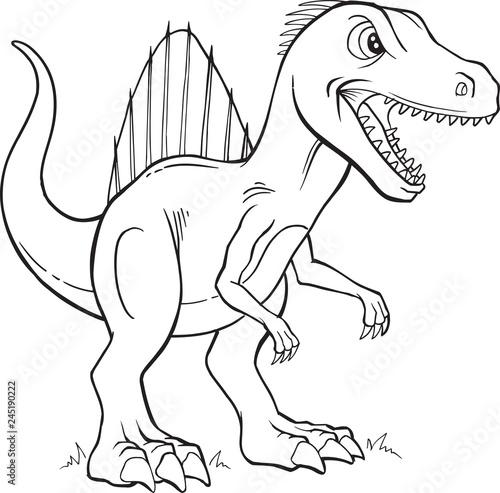 Spinosaurus Dinosaur Coloring Page Vector Illustration Art\