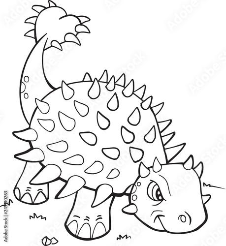 Ankylosaurus Dinosaur Coloring Page Vector Illustration Art\