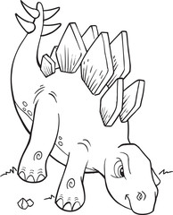 Fotobehang Cartoon draw Stegosaurus Dinosaur Coloring Page Vector Illustration Art