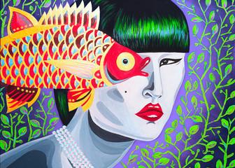 dipinto donna asiatica bella collana di perle