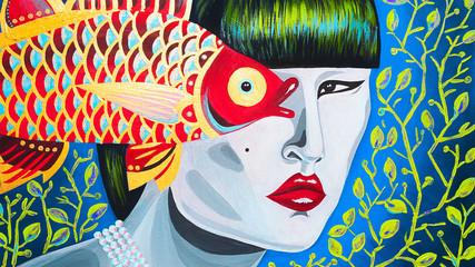 dipinto banner donna con pesce gioielleria