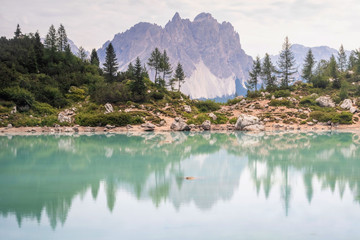 Beautiful Lake Sorapis (Lago di Sorapis) in Dolomites, popular travel destination in Italy