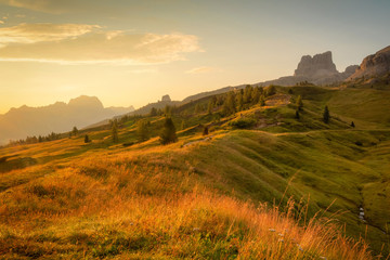 Morning panorama view from top of Falzarego pass with Lagazuoi mountain range, South Tyrol, Italy, Europe.