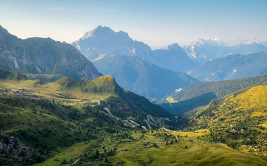 Aerial panorama of Dolomites, South Tyrol, Italy, Europe