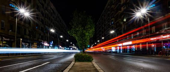 Luces Tráfico Valencia Noche Wall mural