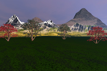 Trees in the meadow, a natural landscape, grass on the ground, beautiful mountains and a hazy sky.