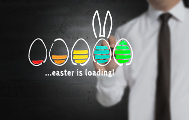 Easter is loading wird von Geschäftsmann auf Bildschirm geschrieben