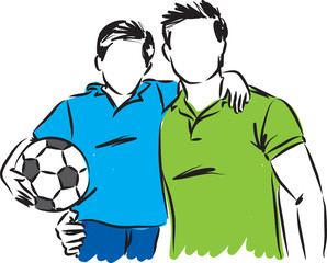 father and son with soccer ball vector illustration