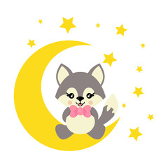 cartoon cute wolf with tie sits on the moon