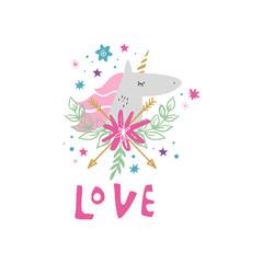 Vector and jpg image, clipart, editable isolated details. Unicorn head cute art, baby stylish illustration.